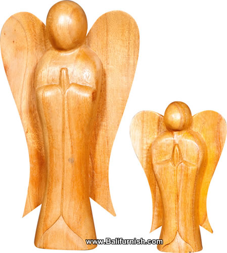 Bali Wood Carvings Praying Angels
