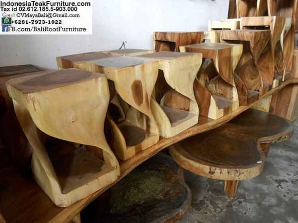 Twisted Wood Stools Bali Indonesia