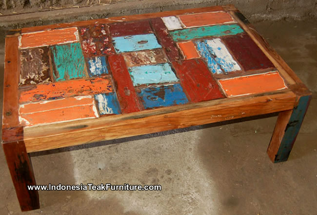 Reclaimed Boat Wood Furniture Table From Bali Indonesia Crafts Com