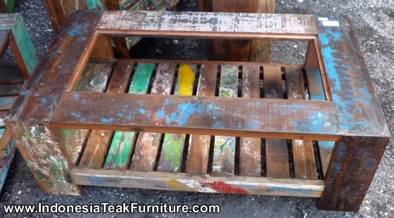 Reclaimed Boat Wood Furniture Coffee Table Glass From Bali Indonesia Crafts Com