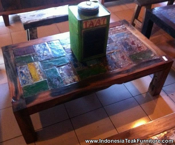 Reclaimed Boat Wood Furniture Coffee Table From Bali Indonesia