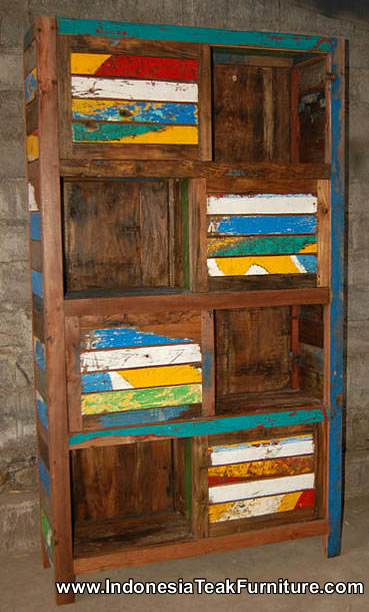 Reclaimed boat wood furniture cabinet bali indonesia for Reclaimed wood colorado