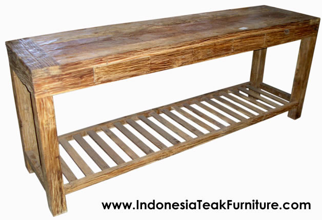 Superior Teak Wood Drawers Console Table