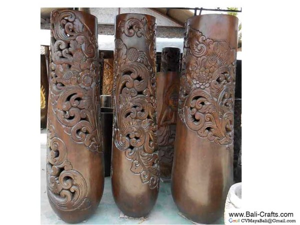 Palm1-6 Carved Palm Tree Wood Pots
