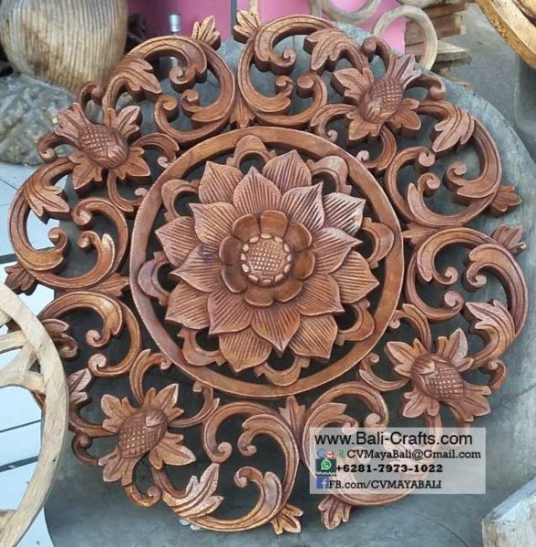 bceva1-12-Wooden Panel Flower From Bali Indonesia