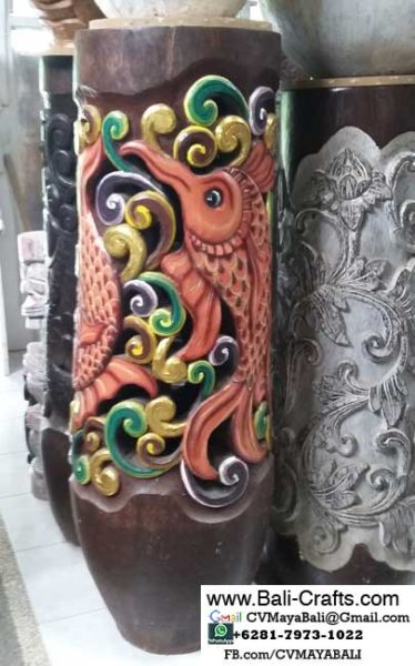 palm1-10Carved Palm Tree Wood Pots From Bali Indonesia