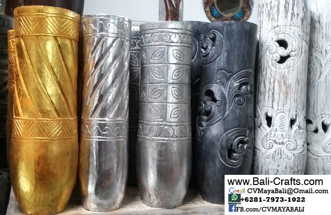palm1-11Carved Palm Tree Wood Pots From Bali Indonesia